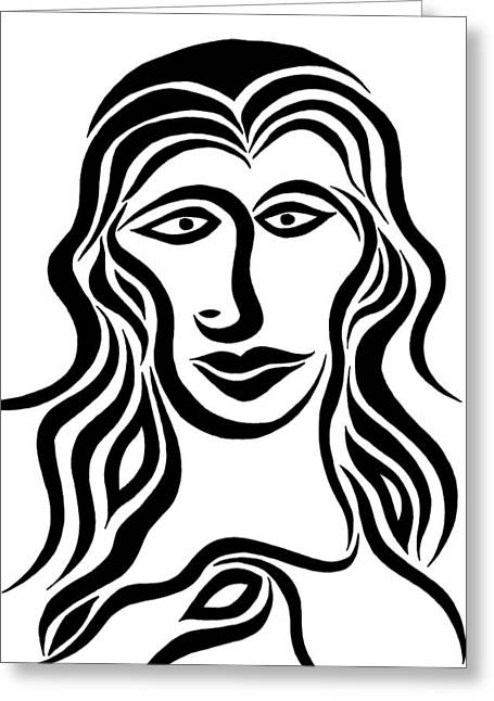 Cubist Drawings Greeting Cards - Beverly Greeting Card by Beth Akerman