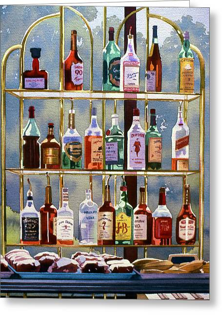 Alcoholic Greeting Cards - Beverly Hills Bottlescape Greeting Card by Mary Helmreich