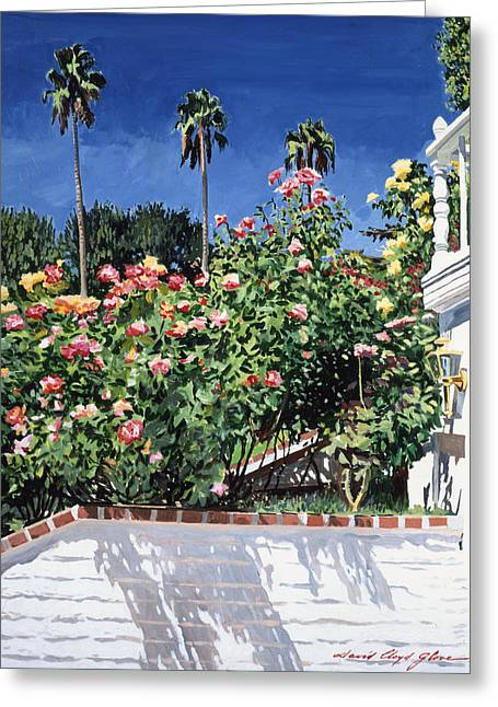 Rose Bushes Greeting Cards - Beverly Hills Roses Greeting Card by David Lloyd Glover