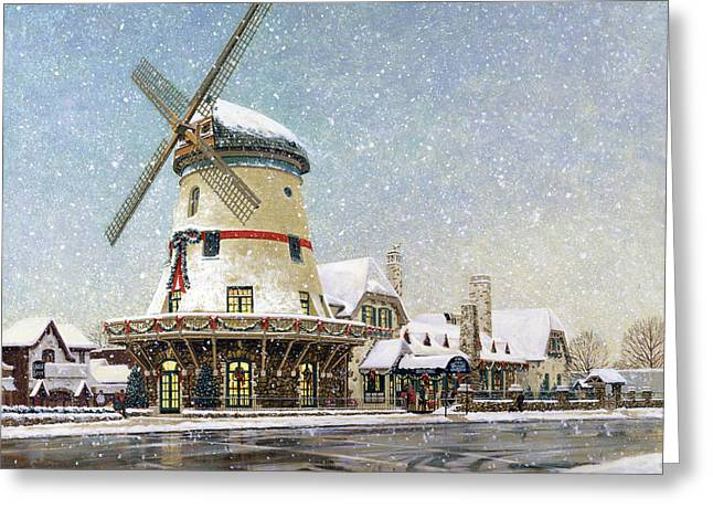 Busch Greeting Cards - Bevo Mill at Christmas Greeting Card by Don  Langeneckert