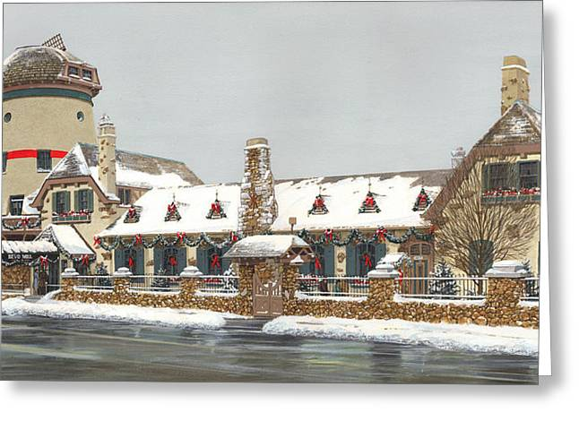 Busch Greeting Cards - Bevo Mill Side View Christmas  Greeting Card by Don  Langeneckert