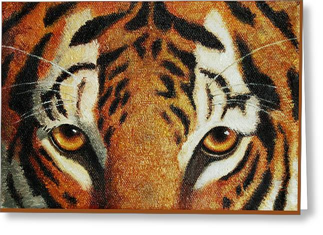 Wild Cats Paintings Greeting Cards - Beware Greeting Card by Crista Forest
