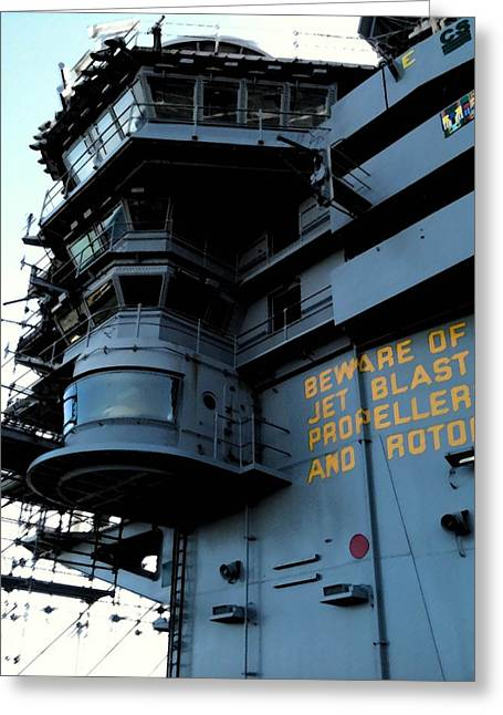 Cvn-69 Greeting Cards - Beware Greeting Card by Julio R Lopez Jr