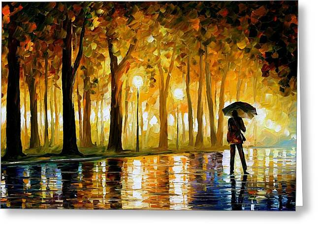 Recently Sold -  - Sailboat Art Greeting Cards - Bewitched Park - PALETTE KNIFE Landscape Oil Painting On Canvas By Leonid Afremov Greeting Card by Leonid Afremov