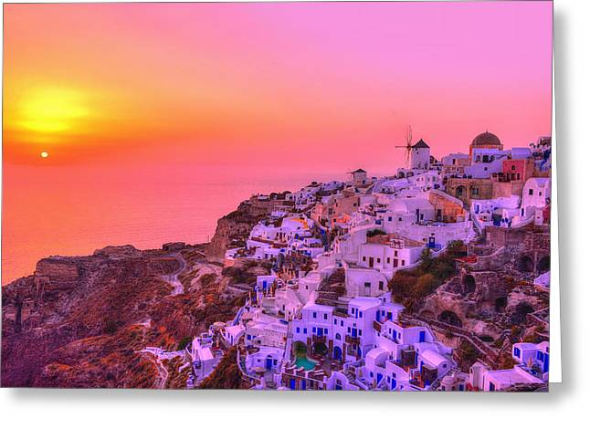 Santorini Greeting Cards - Bewitched sunset Greeting Card by Midori Chan