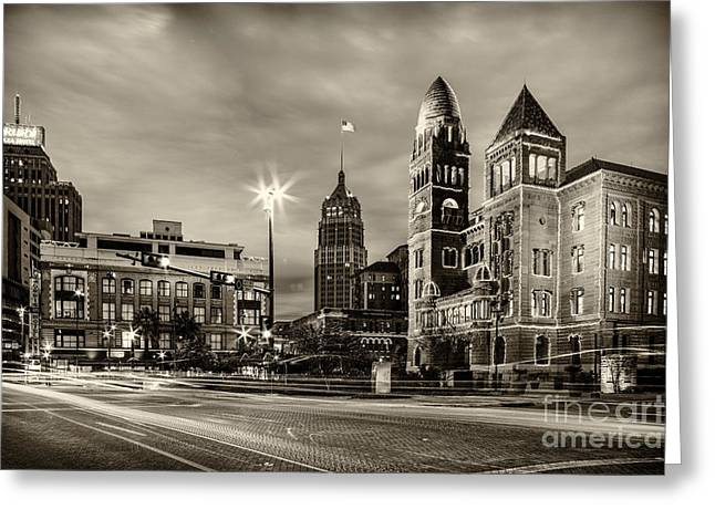 Del Rio Greeting Cards - Bexar County Courthouse and Tower Life Building Main Plaza in BW Monochrome - San Antonio Texas Greeting Card by Silvio Ligutti