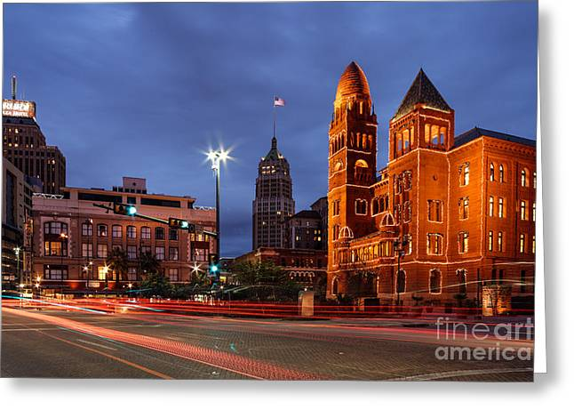 Long Street Greeting Cards - Bexar County Courthouse and Tower Life Building Main Plaza - San Antonio Texas Greeting Card by Silvio Ligutti