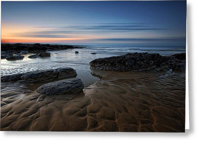 Sand Pattern Greeting Cards - Bexhill Sunrise Greeting Card by Mark Leader