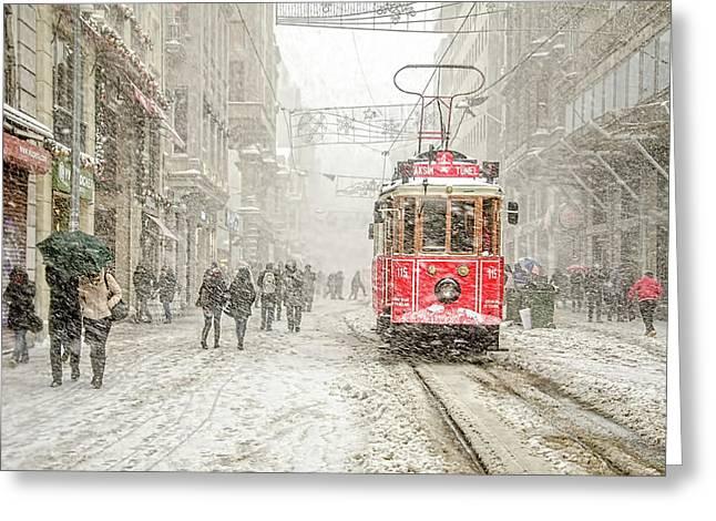 Beyoa?lu Greeting Card by Murat Bakmaz
