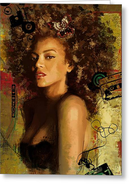 Celebrities Greeting Cards - Beyonce Greeting Card by Corporate Art Task Force