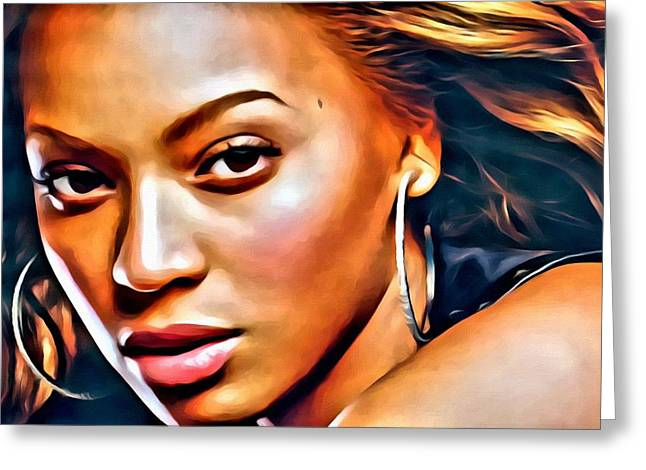 Beyonce Greeting Cards - Beyonce Glamour Greeting Card by Florian Rodarte