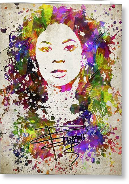 Bathroom Art Greeting Cards - Beyonce in Color Greeting Card by Aged Pixel