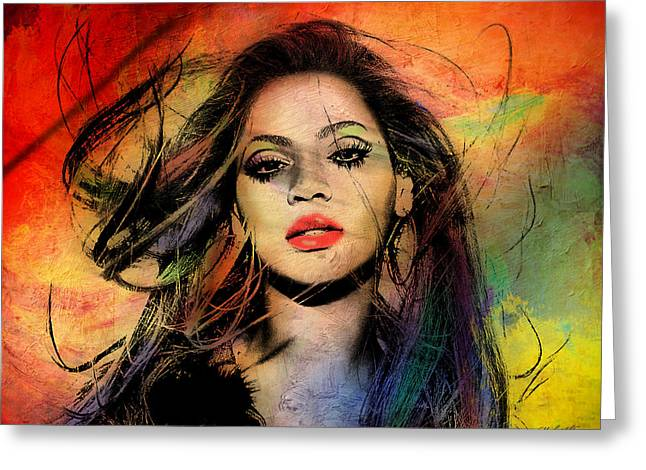 Pop Singer Greeting Cards - Beyonce Greeting Card by Mark Ashkenazi