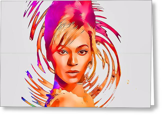Beyonce Greeting Cards - Beyonce Splash of Color by GBS Greeting Card by Anibal Diaz