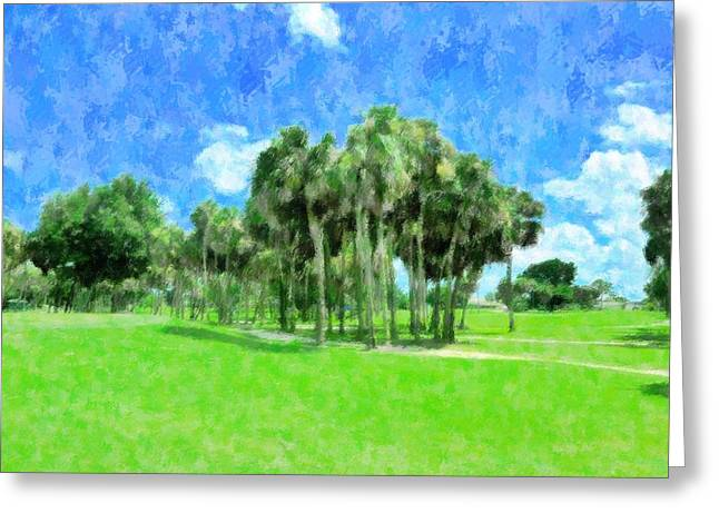 Beyond The 9th Hole Greeting Card by Florene Welebny