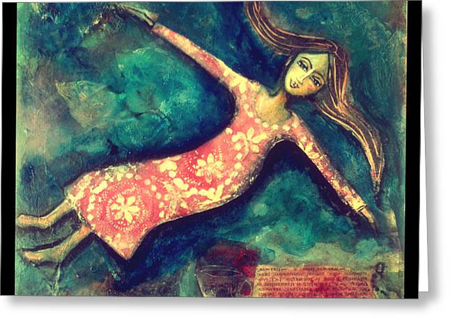 Floating Girl Greeting Cards - Beyond the Bounds Greeting Card by Denise Daffara