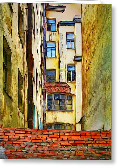 Old Town Digital Greeting Cards - Beyond the Brick Wall Greeting Card by Yury Malkov