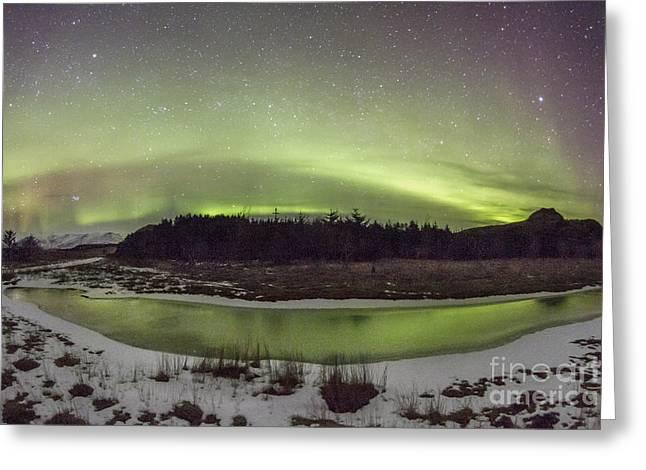 Winter Night Greeting Cards - Beyond The Cosmic Horizon Greeting Card by Evelina Kremsdorf