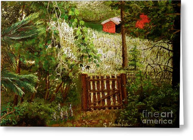 Gate Pastels Greeting Cards - Beyond the Garden Gate Greeting Card by Carol Kovalchuk