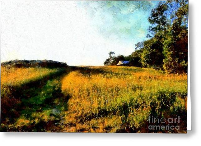 The Hills Digital Art Greeting Cards - Beyond the Hill  Greeting Card by Janine Riley