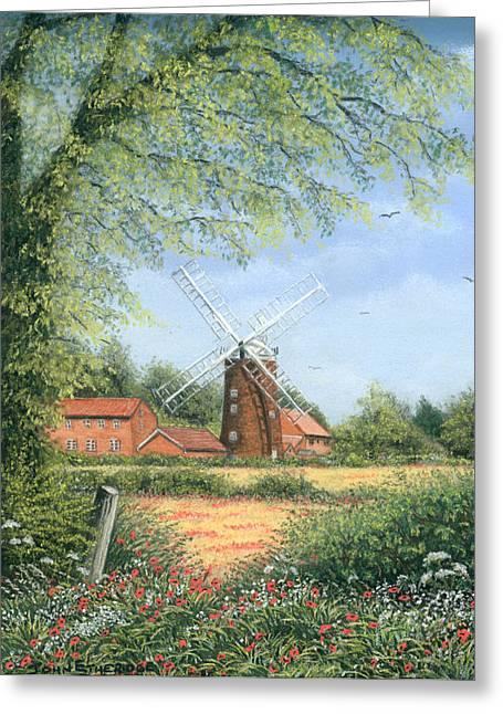 Mills Pastels Greeting Cards - Beyond the poppies Greeting Card by John  Etheridge