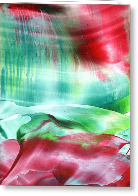Encaustic Greeting Cards - Beyond the Red Veil - Melodrama Greeting Card by Jenny Wilkinson