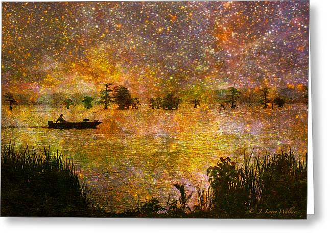 Waterscape Digital Art Greeting Cards - Beyond The Reeds Greeting Card by J Larry Walker