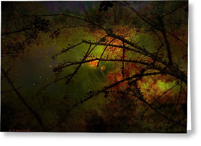 Silhouette Digital Art Greeting Cards - Beyond The Thorns Greeting Card by J Larry Walker