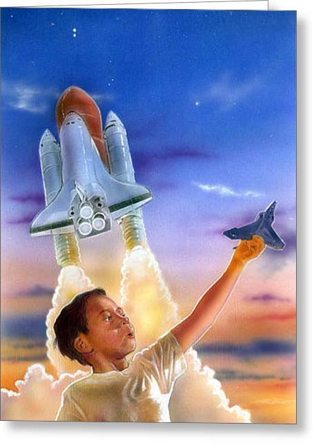 Space Shuttle Mixed Media Greeting Cards - Beyond the Universe Greeting Card by Jose Rodriguez