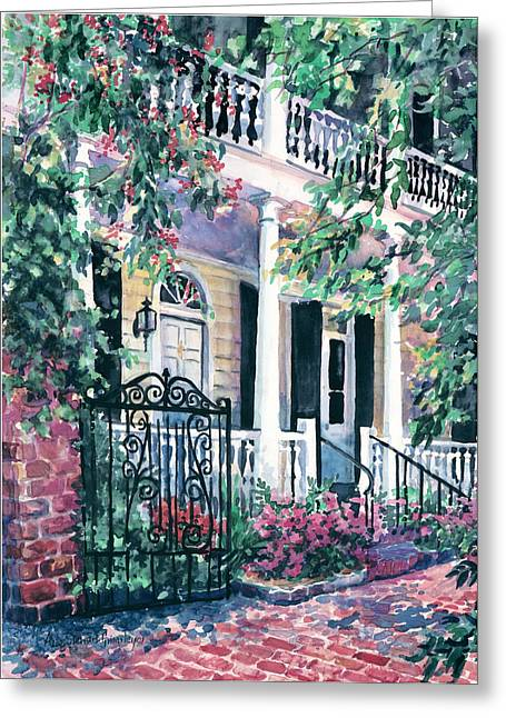 Recently Sold -  - Sunlight On Flowers Greeting Cards - Beyond The Wrought Iron Greeting Card by Alice Grimsley