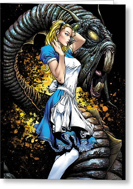 Calie Liddle Greeting Cards - Beyond Wonderland 01A Alice Greeting Card by Zenescope Entertainment