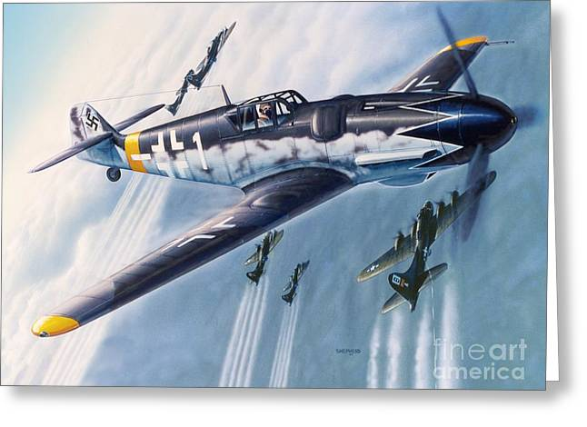 Bf-109 Gustav Greeting Card by Stu Shepherd