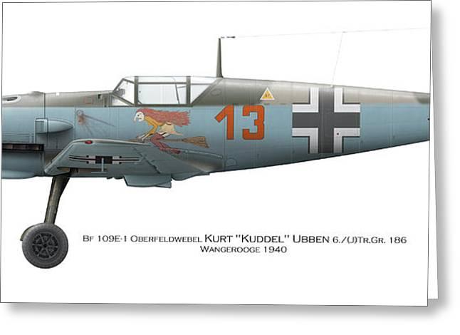German Aces Of Wwii Greeting Cards - Bf 109E-1 Oberfeldwebel Kurt Ubben 6./Tr.Gr. 186. Wangerooge 1940 Greeting Card by Vladimir Kamsky