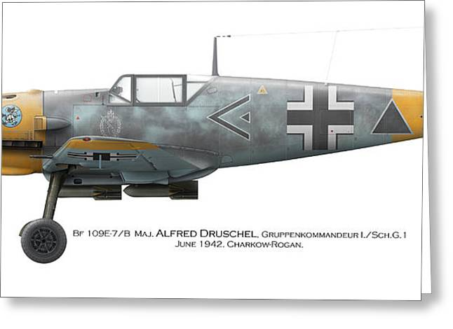 Fighter Ace Greeting Cards - Bf 109E-7/B  Maj. Alfred Druschel Gruppenkommandeur I./Sch.G.1 June 1942. Charkow-Rogan Greeting Card by Vladimir Kamsky