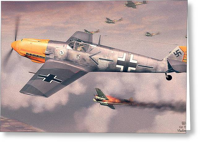 Bf 109e Geschwaderkommodore Jg 26 Adolf Galland Greeting Card by Vladimir Kamsky