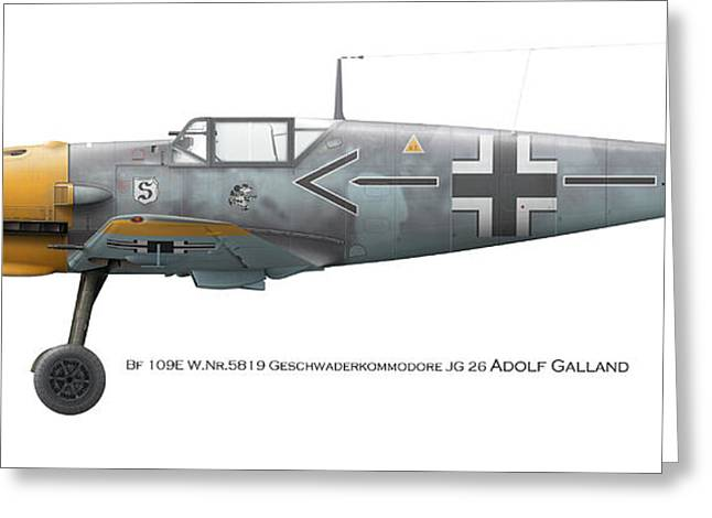 Bf 109e W.nr.5819 Geschwaderkommodore Jg 26 Adolf Galland Greeting Card by Vladimir Kamsky