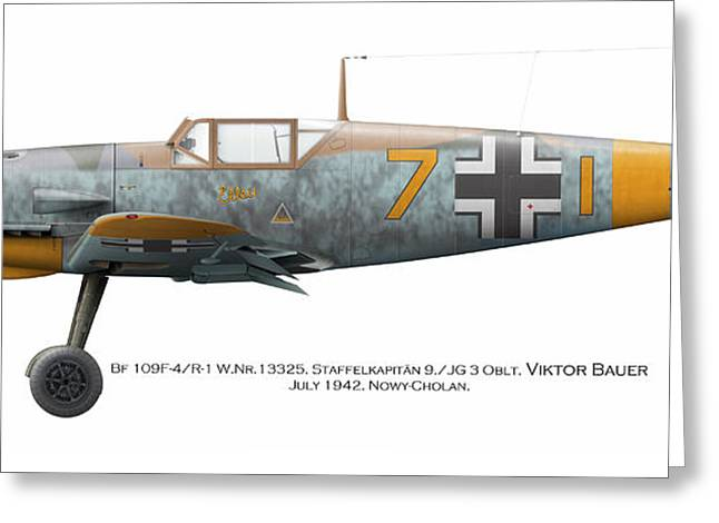 Bf 109f-4/r-1 W.nr.13325. Staffelkapitan 9./jg 3 Oblt. Viktor Bauer. July 1942. Nowy-cholan Greeting Card by Vladimir Kamsky