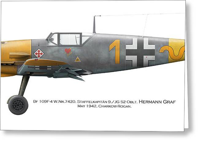 Bf 109f-4 W.nr.7420. Staffelkapitan 9./jg 52 Oblt. Hermann Graf. May 1942. Charkow-rogan. Greeting Card by Vladimir Kamsky