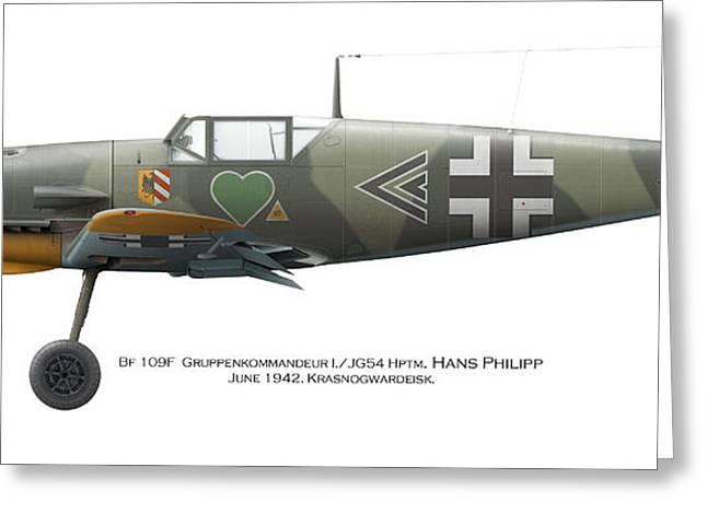 Bf 109f Gruppenkommandeur I./jg54 Hptm. Hans Philipp. June 1942. Krasnogwardeisk Greeting Card by Vladimir Kamsky