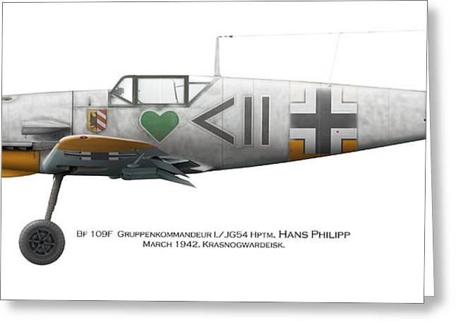 Bf 109f Gruppenkommandeur I./jg54 Hptm. Hans Philipp. March 1942. Krasnogwardeisk Greeting Card by Vladimir Kamsky