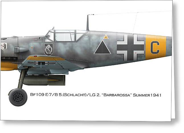 Fighter Ace Greeting Cards - Bf109 E-7/B 5.Schlacht /LG 2. Barbarossa Summer1941 Greeting Card by Vladimir Kamsky