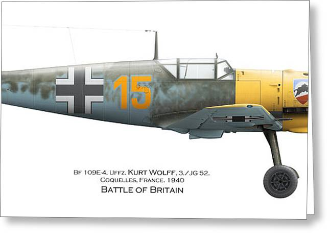 Bf109e-4. Uffz. Kurt Wolff. 3./jg 52. Coquelles. France. Battle Of Britain 1940 Greeting Card by Vladimir Kamsky