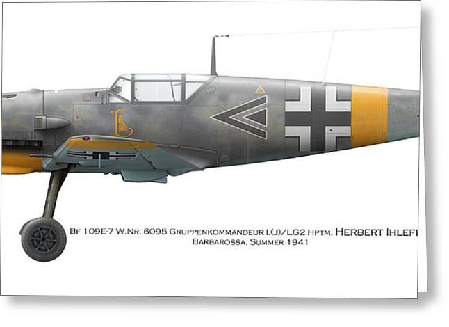Bf109e-7 W.nr. 6095 Gruppenkommandeur I./lg2 Hptm. Herbert Ihlefeld. Barbarossa. 1941 Greeting Card by Vladimir Kamsky