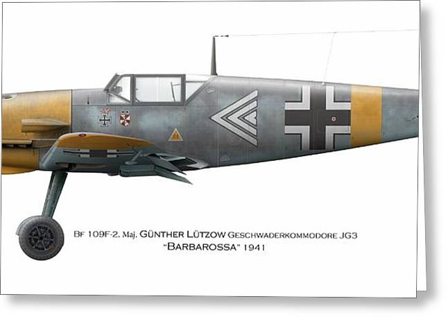 Fighter Ace Greeting Cards - Bf109F Geschwaderkommodore JG 3 Maj. Gunther Lutzow Barbarossa 1941 Greeting Card by Vladimir Kamsky