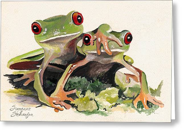 Bff Froggies Greeting Card by Suzanne Schaefer
