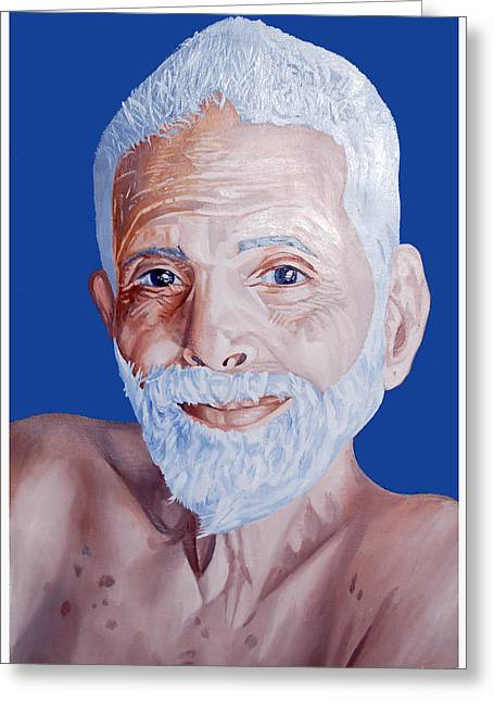 The Devotee Greeting Cards - BHAGAVAN RAMANA MAHARISHi Greeting Card by Sankaranarayanan