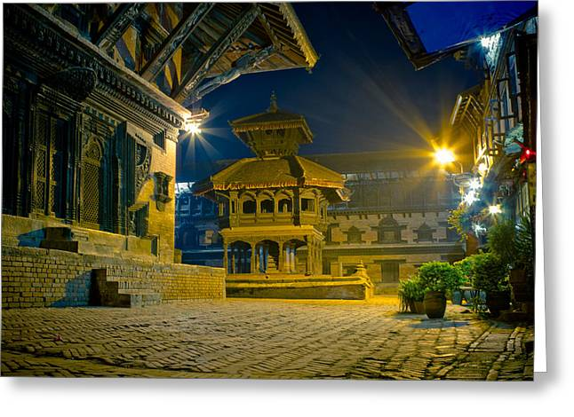 Spirituality Greeting Cards - Bhaktapur at night in old town silence Greeting Card by Raimond Klavins