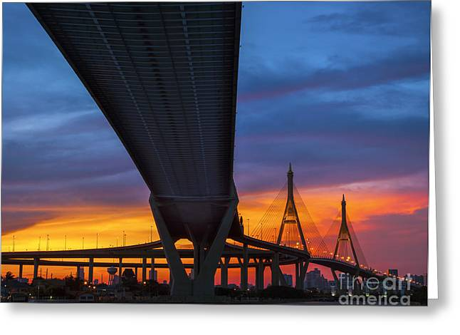 River View Greeting Cards - Bhumibol Bridge in Thailand  Greeting Card by Anek Suwannaphoom