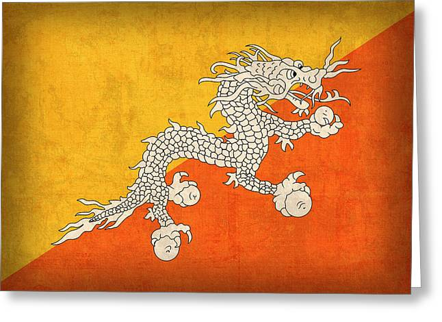 National Mixed Media Greeting Cards - Bhutan Flag Vintage Distressed Finish Greeting Card by Design Turnpike