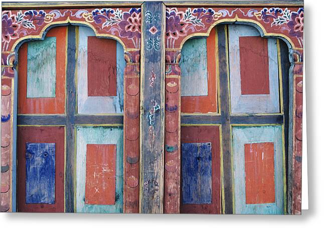 Product Photographs Greeting Cards - Bhutan, Paro, Detail Of Wall Art Greeting Card by Larry Dale Gordon
